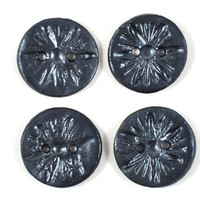Handmade Ceramic Buttons Gunmetal Black Textured Daisy Flower Imprint Round Set of Four Pottery Buttons Sewing Crochet Knitting