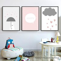 Nordic Cartoon Poster Pink Heart Beer Posters Kids Room Wall Art Canvas Painting Wall Pictures For Living Room Unframed