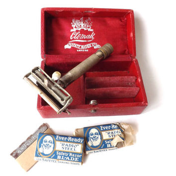 Antique Clemak Safety Razor Original Box with Ever Ready Blades, Mans Anique Vanity Gift, Vintage Shaving Accessory, Barber Shop Wet Shave