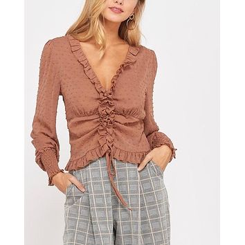 sheer ruffled front self-tie blouse - rust