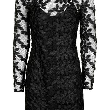 Long Sleeve Leaf Applique Dress | Topshop