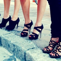 black, cute, fashion, girls , heels, high heels - inspiring picture on Favim.com