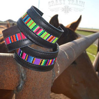 Laredo Serape Black Leather Bracelet from Crazy Train