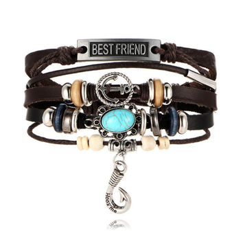 Vintage Best Friend Anchor Bracelet