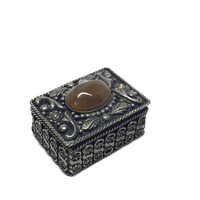 Silver Pill Box with Agate Stone Accent