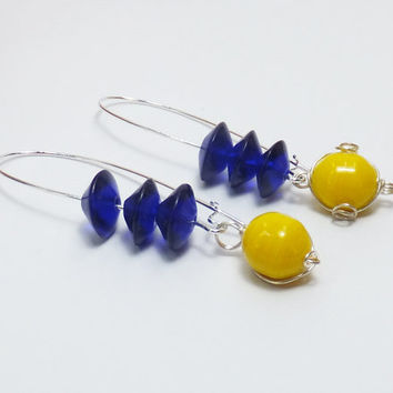 Cobalt Blue and Yellow Glass Beads on Long Silver-Plated Earwires