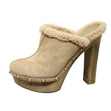 Gucci Women's Beige Suede Shearling Platform Runway Clogs Sandals Shoes 269724