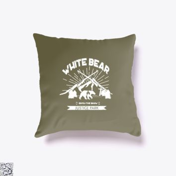 White Bear, Black Mirror Throw Pillow Cover