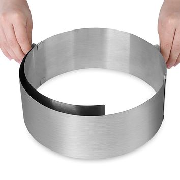 Circle Mousse Ring Adjustable Cake Pan Size Mold Retractable Silver Stainless Steel Cake Rings Home Baking Tools Bakeware