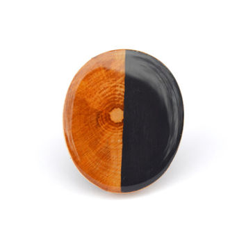 Midnight blue two tone wood ring Color block statement ring Eco friendly jewelry wood jewelry starlight woods