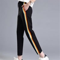 2017 Spring Fashion Casual Colorful Rainbow Side-stripe Pants Female M-2XL Loose Elastic Waist Chic Pockets Women's Pants Summer