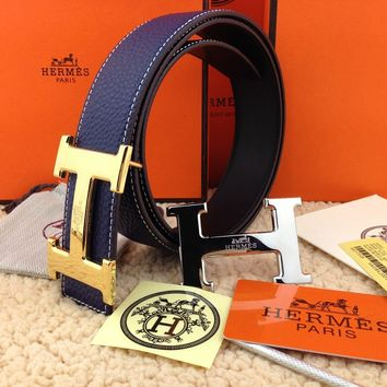 Brand New Authentic Hermes Blue 110CM/38MM Belt 2H Golden-Sliver Buckle