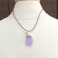 Radiant Orchid Necklace: Lavender Sea Glass Fine Silver Wire Wrapped Beach Jewelry, Puffed Heart Charm Purple Berry Leather Cord Necklace