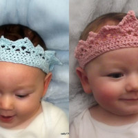 Baby Infant Crochet Crown,Headband Photo Prop, Hat ,Cotton, Princess, prince.