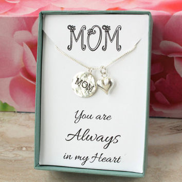 Gift for Mom sterling silver necklace with hand stamped MOM charm and heart You are always in my heart handmade jewelry Mother's Day gift