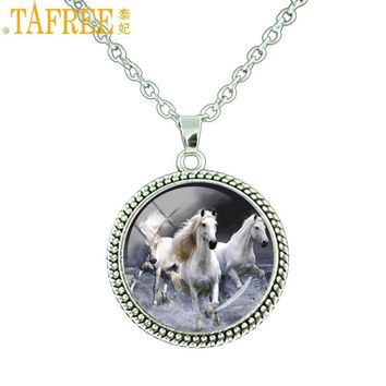 TAFREE Clear White Unicorn picture glass cabochon dome necklace Love Horse Necklaces Silver Color Vintage pendant jewelry ES53
