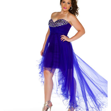 Mac Duggal 2013 Prom Dresses - Cobalt High-Low Strapless Sweetheart Gown