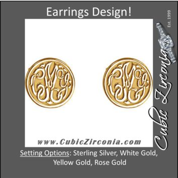 Cubic Zirconia Earrings- 10mm 3-Letter Script Monogram