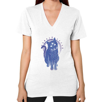 Trippy Kitty  flower of life edition V-Neck (on woman)