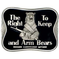 Pewter Belt Buckle - The Right To Keep and Arm Bears - Pewter Belt Buckle