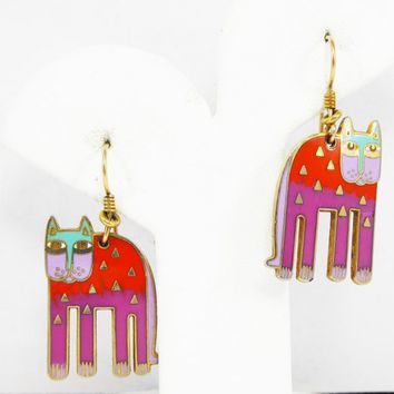 "Laurel Burch Vintage Kitty Cat Earrings for Pierced Ears in Purple Enamel - ""Alexander's Animal""- Pop Art - Mod Art 1980's - 1990's Jewelry"