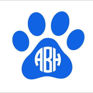 Paw Monogram Decal Car Decal Vinyl Decal Paw Print Monogram Paw Print Decal Sports Athletic Custom Car Decal School Team Mascot Preppy Car