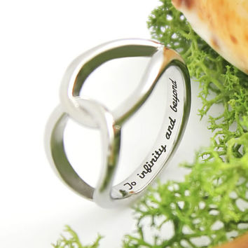 "Infinity Symbol Ring Secret Message ""To Infinity and Beyond"" Ring With Enraving"