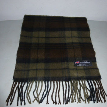 Mens Vintage 100% Cashmere Scarf Made in Scotland Scottish Cashmere Brown Taupe Black Plaid