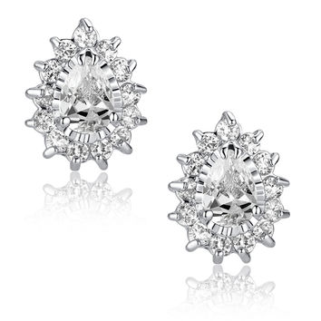 Teardrop and Round Cubic Zirconia Stud Earrings