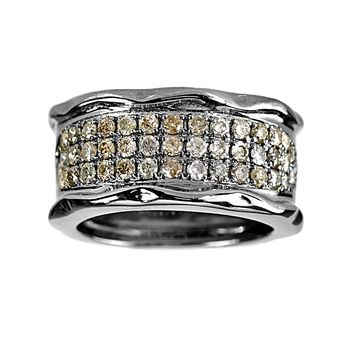 1.01ct Pavé Diamonds in 925 Sterling Silver Wavy Cigar Band Ring 03eac97775ba