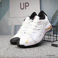 DCCK N725 Nike PG 2 Actual Basketball Shoes White Gold Black