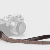 Walnut Baby Alpaca Wool and Brown Leather Camera Wrist Strap (ring attachment)