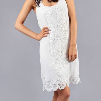 White Lace Crochet Tank Dress