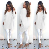 Women's Fashion Stylish V-neck Long Sleeve Sweater [22426124314]