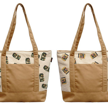 Flower milk & Honey Bottle Print 100% Cotton Canvas Vintage Shoulder Bags WAS_13