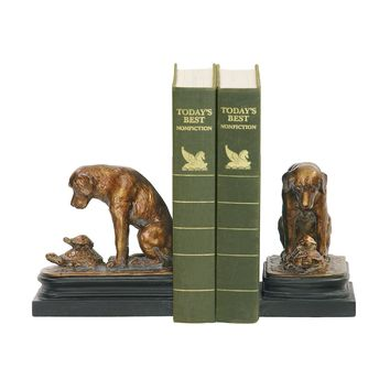Turtle Under Study Bookends In Bronze And Wood Tone - Pair