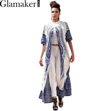 Glamaker Summer short sleeve cloak print trench 2017 spring ethnic loose casual trench coat for women Elegant sunscreen cardigan