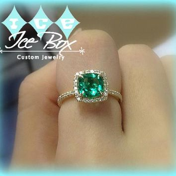 Emerald  Engagement Ring 7mm Cushion Cut set in a 14k Yellow gold diamond halo setting