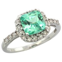 Sterling Silver Square Stone Ring w/ 0.13 Carat Brilliant Cut Diamonds & 1.92 Carats (7mm) Cushion Cut Green Topaz Stone, 13/32 in. (10.5mm) wide, size 9