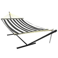 Sunnydaze Quilted Double Fabric Hammock w/ Spreader Bar and Stand Combo