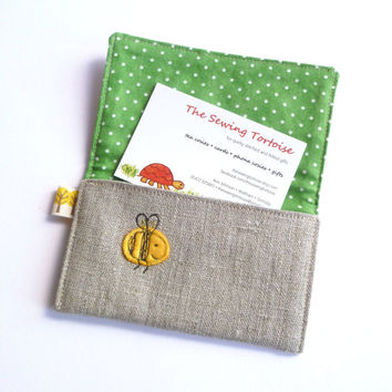 Natural linen card holder with cute embroidered bees. With green spotty lining fabric. Unique birthday or anniversary gift for him or her.