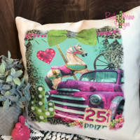 Vintage Pink Truck with Carousal Horse
