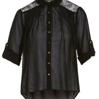 Black Lace Insert Roll Sleeve Blouse