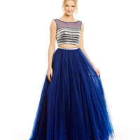 JVN by Jovani Beaded-Top Mesh Two-Piece Ball Gown | Dillards