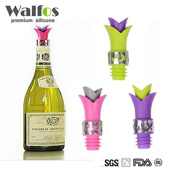WALFOS brand food grade silicone Wine Bottle Stoppers Cork Wine Plug Durable Wine Pourer Aerator Bar Tools