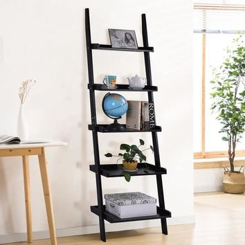 Costway Black 5-Tier Bookshelf Leaning Wall Shelf Ladder Bookcase Storage Display Furni | Overstock.com Shopping - The Best Deals on Media/Bookshelves
