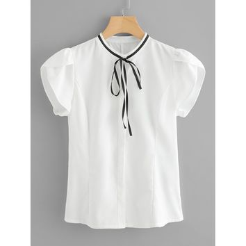 Petal Sleeve Tie Neck Blouse White