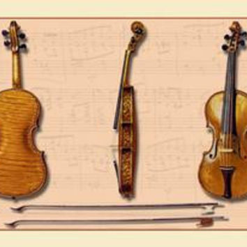 The Hellier Stradivarius and Two Old Bows: Fine art canvas print (12 x 18)