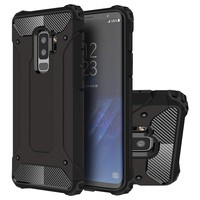 Connect Zone Black Heavy Duty Tough Protective Hard Case Shockproof Cover For Samsung A8 2018 With Screen Protector And Polishing Cloth