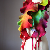 Nuno Felted scarf  Wool   Green Red Yellow  ruffled hand dyed